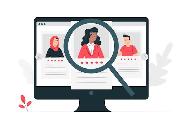 Иллюстрация концепции поиска работы Бесплатные векторы