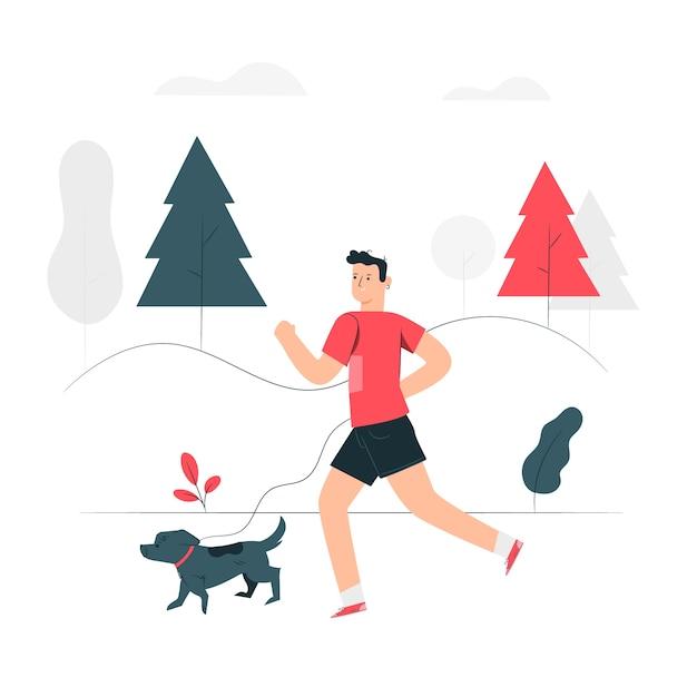 ジョギングの概念図 無料ベクター