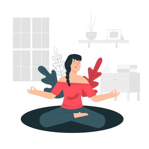 瞑想の概念図 無料ベクター