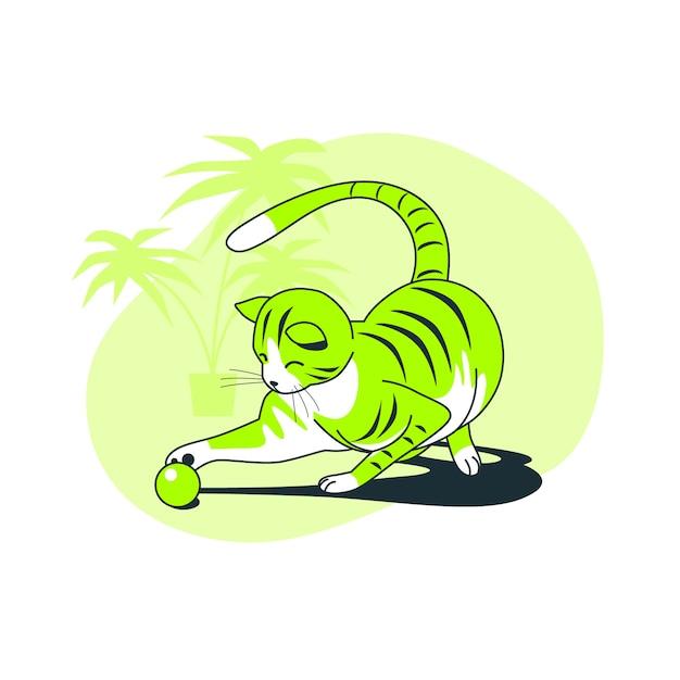 Иллюстрация концепции игривая кошка Бесплатные векторы