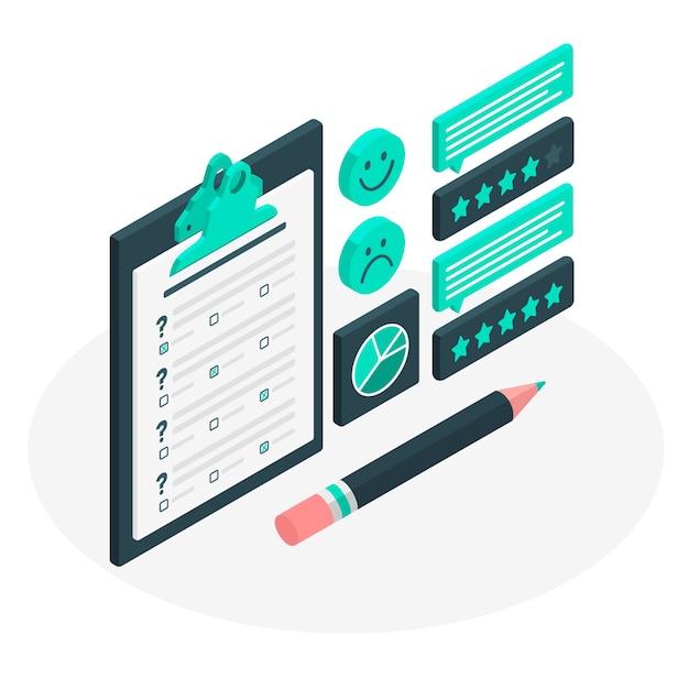 Иллюстрация концепции опроса клиентов Бесплатные векторы