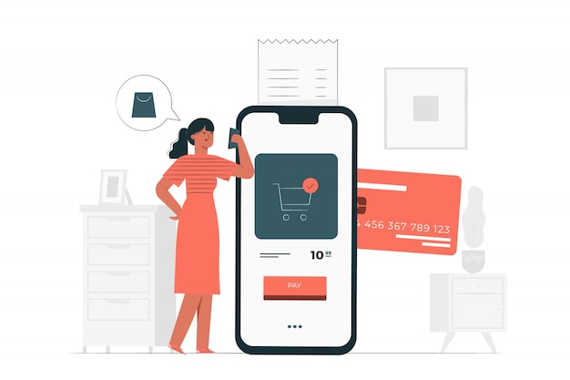 Иллюстрация концепции оплаты кредитной картой Бесплатные векторы