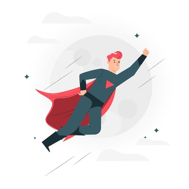 スーパーヒーローの概念図 無料ベクター