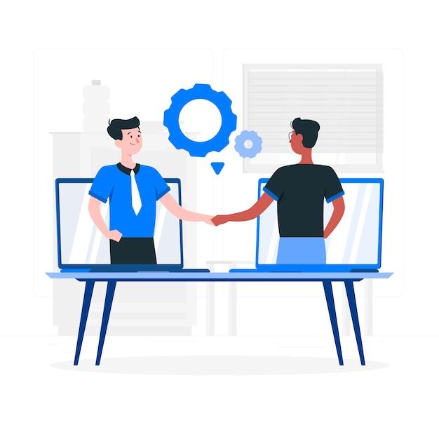 Иллюстрация концепции живого сотрудничества Бесплатные векторы