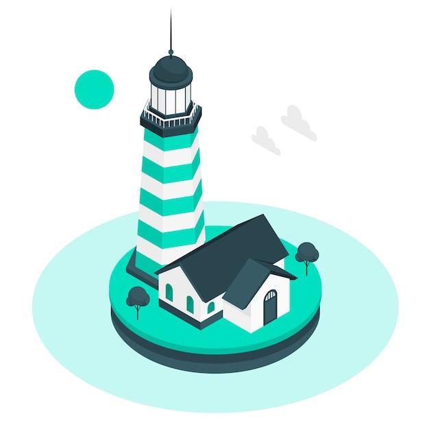灯台の概念図 無料ベクター