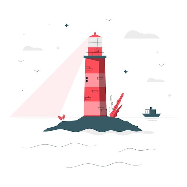 Иллюстрация концепции маяка Бесплатные векторы