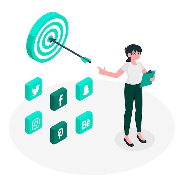 Иллюстрация концепции социальной стратегии Бесплатные векторы