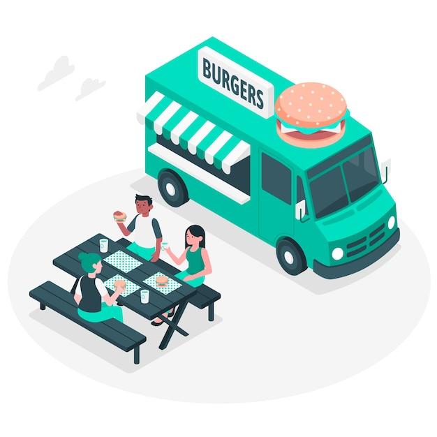 Концепция иллюстрации уличной еды Бесплатные векторы