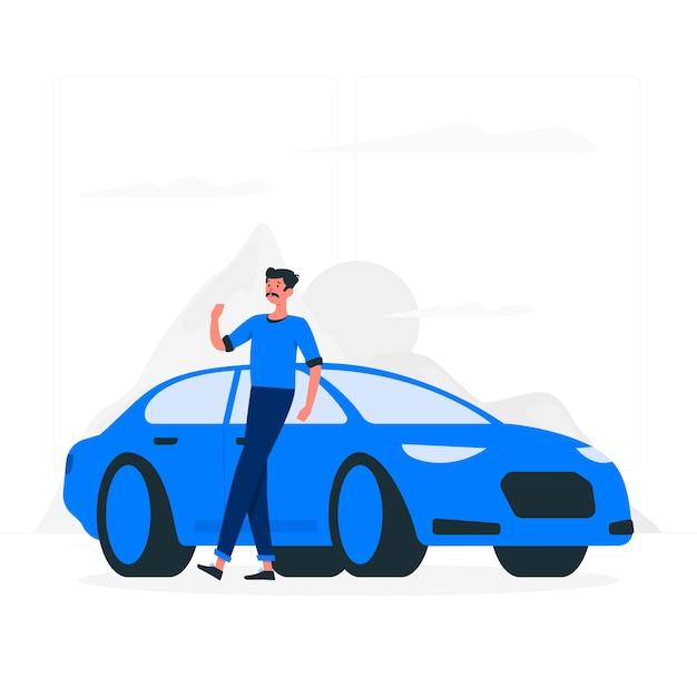 私の車のイラストコンセプトで 無料ベクター