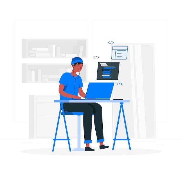 Иллюстрация концепции кодирования Бесплатные векторы