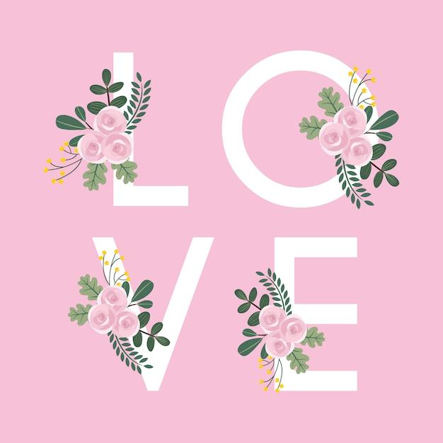 花の愛の背景 Premiumベクター