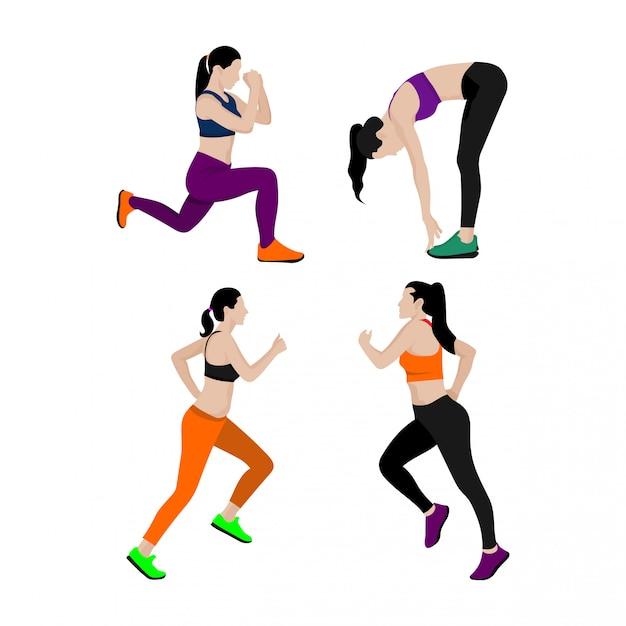 スポーツ女性のセット Premiumベクター