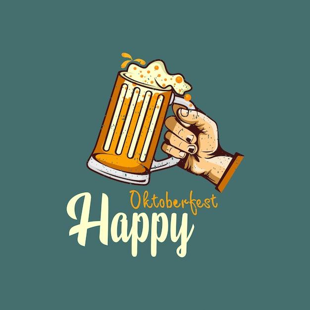 ビールのグラスを持っている手で幸せなオクトーバーフェスト挨拶デザイン Premiumベクター