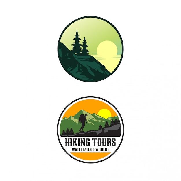 Шаблон логотипа для пеших туров Premium векторы