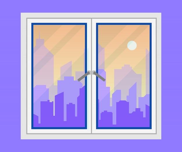 窓と街の眺め。 Premiumベクター