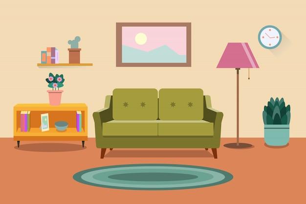 Интерьер гостиной. мебель: диван, книжный шкаф, светильники. плоский стиль иллюстрации Premium векторы