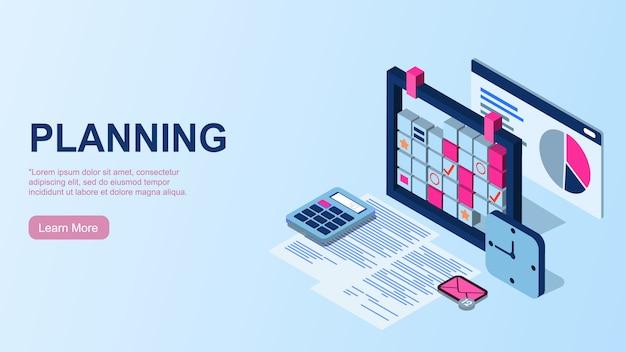 計画。時間管理の概念。事業計画の実施のための労働時間の効率的な使用。職場の平面図。 Premiumベクター