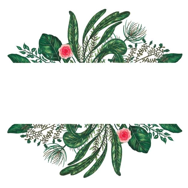 Раскрашенная вручную маркерами цветочная рамка с веточкой, веткой и зелеными абстрактными листьями Бесплатные векторы