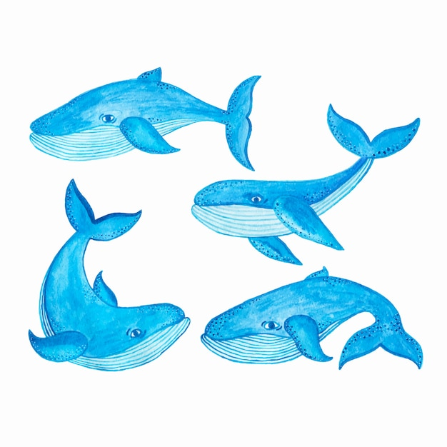 Акварель бесшовные модели с синим китом, мультяшном стиле Бесплатные векторы