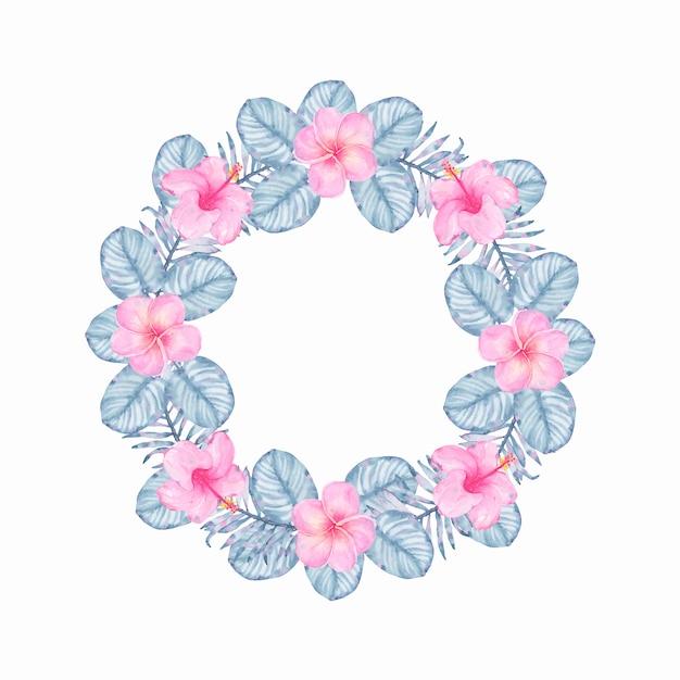 ピンクのハイビスカスフランジパニとインディゴパームモンステラの葉水彩トロピカルインディゴフローラルリース 無料ベクター