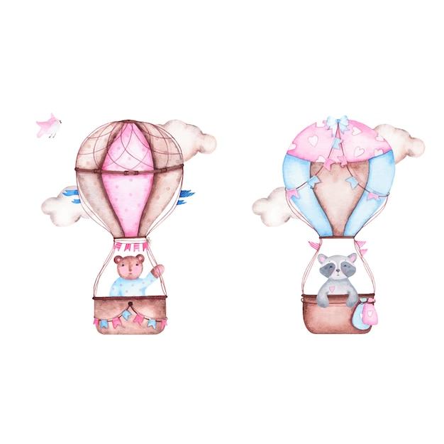 水彩それはクマアライグマとかわいい熱気球と男の子のベビーシャワーです。 無料ベクター