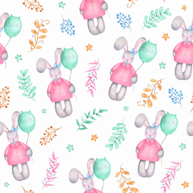 気球の花と水彩のシームレスパターンハッピーイースターかわいい女の子バニー 無料ベクター