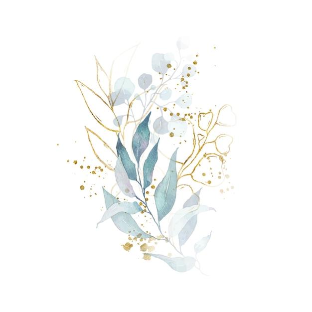 Акварельная композиция с зелеными листьями, букет золотых трав Бесплатные векторы