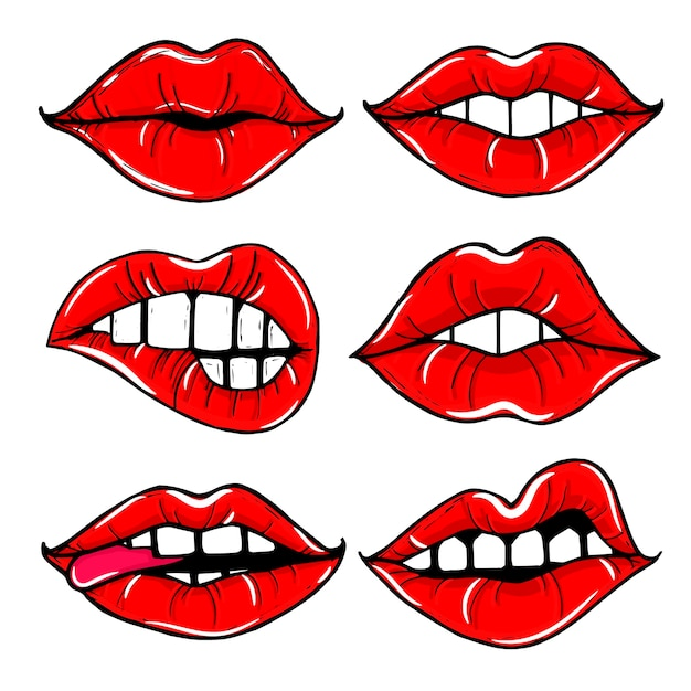 Открытый женский рот с красными губами. набор женских губ Бесплатные векторы