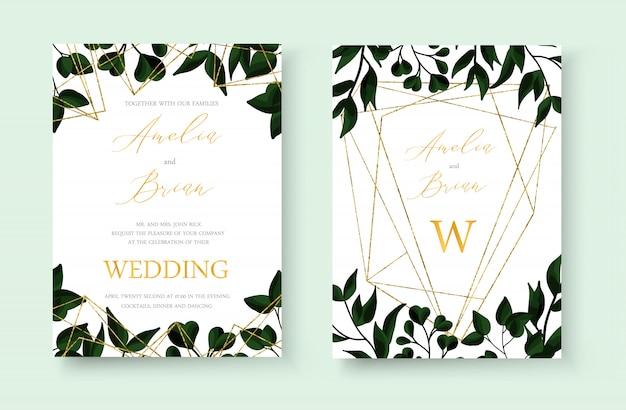 結婚式の花の黄金の招待状カードはゴールドの幾何学的な三角形のフレームと緑の熱帯の葉のハーブと日付のデザインを保存します。植物のエレガントな装飾的なベクトルテンプレート水彩風 無料ベクター