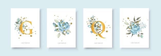 Свадебный цветочный золотой пригласительный конверт сохраняет дизайн минимализма даты с природным заводом темно-синего цветка розы и золотых брызг. ботанический элегантный декоративный вектор шаблон акварель стиль Бесплатные векторы