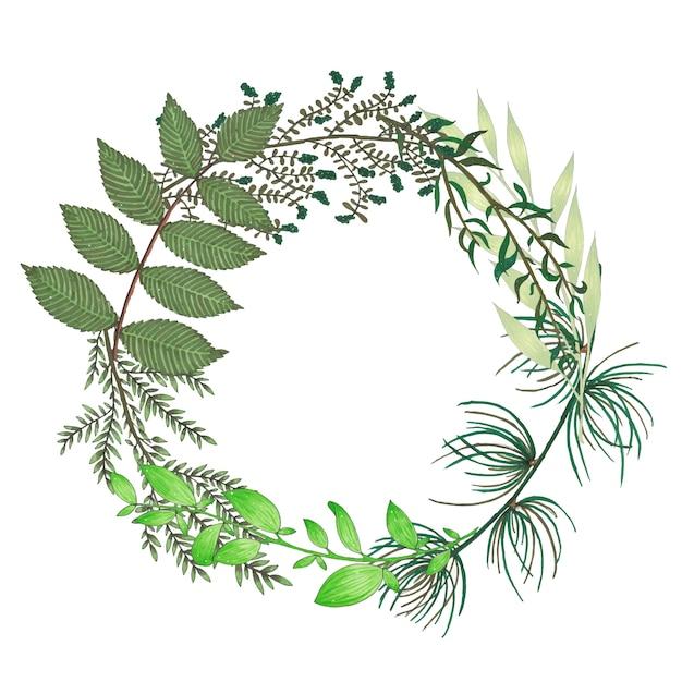 手描きの枝、枝、緑の抽象的な葉とマーカーフローラルリース 無料ベクター