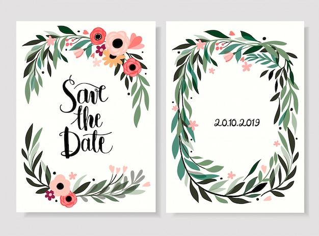 手描きの花と手のレタリングで日付カード/招待状を保存 Premiumベクター