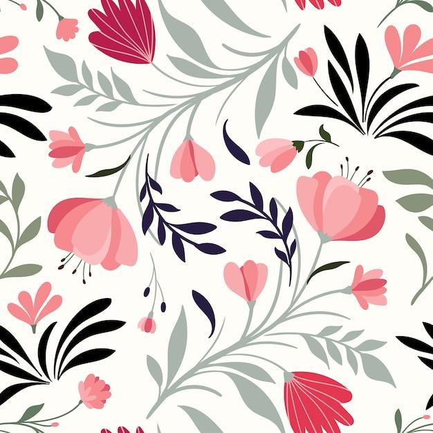 装飾的な花と植物の手描かれたシームレスパターン Premiumベクター