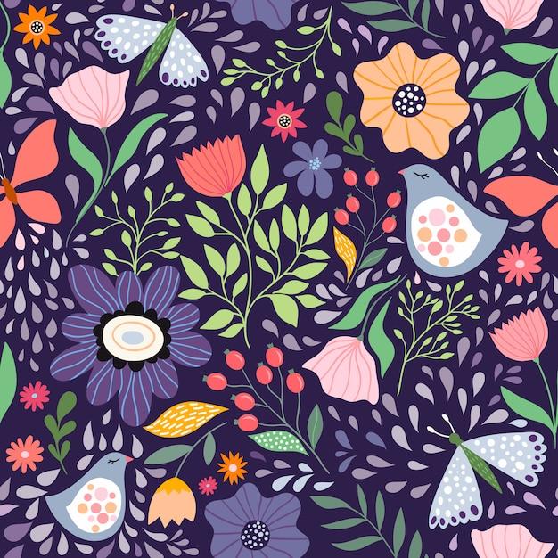 花と鳥のシームレスパターン Premiumベクター