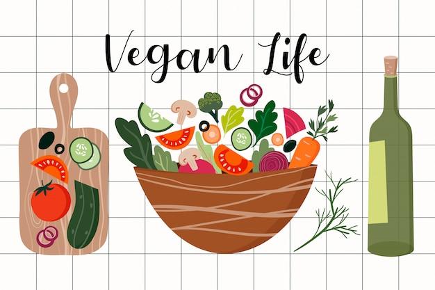 オリーブオイルと木の板の新鮮野菜のサラダ Premiumベクター