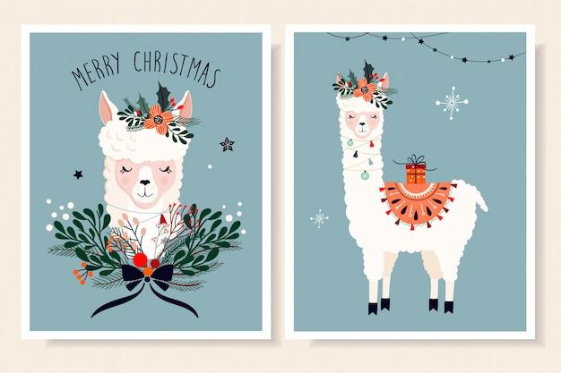 ラマと季節の要素を持つクリスマスグリーティングカードコレクション Premiumベクター