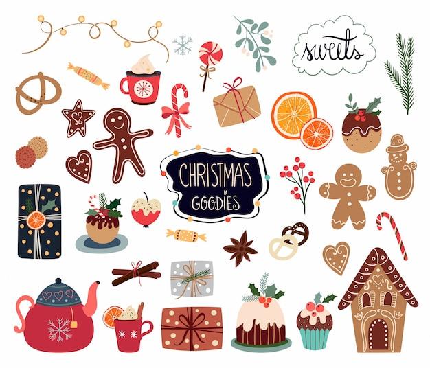 Рождественская коллекция элементов с различными сладостями и сезонными предметами на белом фоне Premium векторы