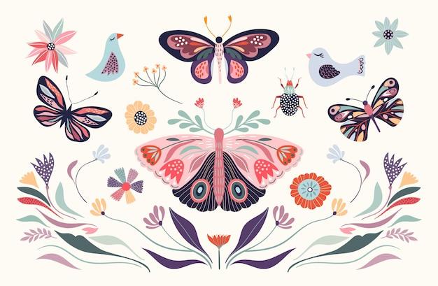 Цветочные иллюстрации с птицей и бабочкой Premium векторы