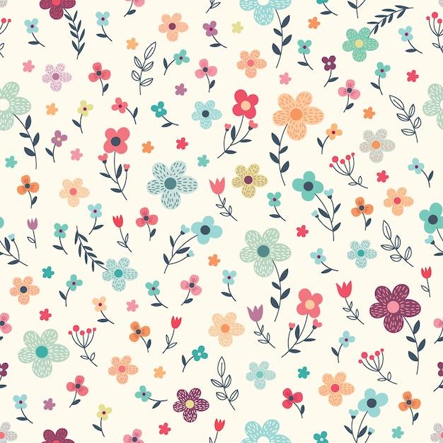 花と植物のシームレス花柄 Premiumベクター