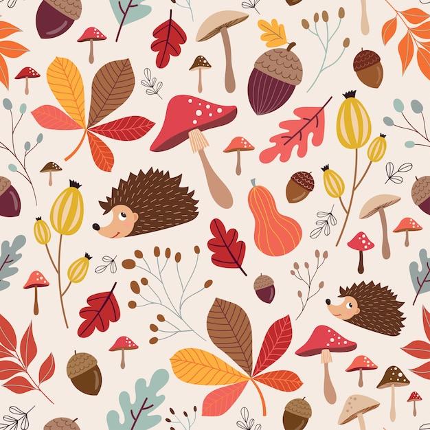 季節の要素を持つ秋のシームレスパターン Premiumベクター