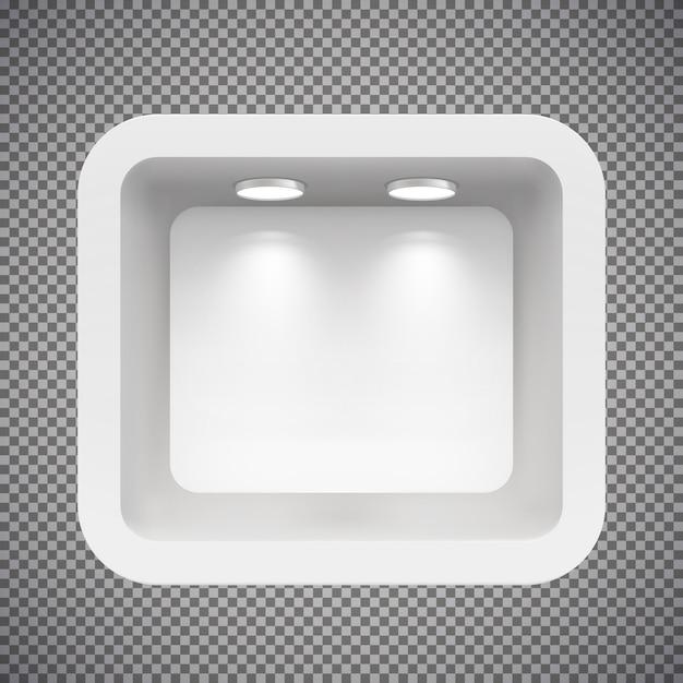 光源が付いている上の壁のブティック。イラストが分離されました。 Premiumベクター