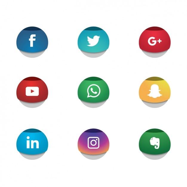 Социальные сети иконки коллекции Бесплатные векторы