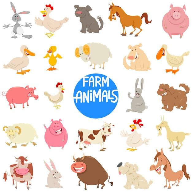 農場の動物キャラクターセットの漫画イラスト Premiumベクター