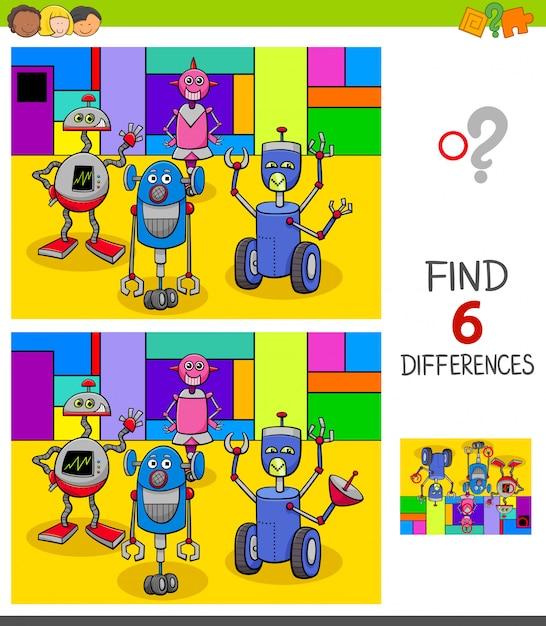 В поисках различий игра с роботами Premium векторы