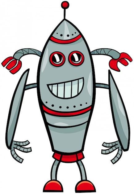 面白いロボットファンタジーの漫画のキャラクター Premiumベクター
