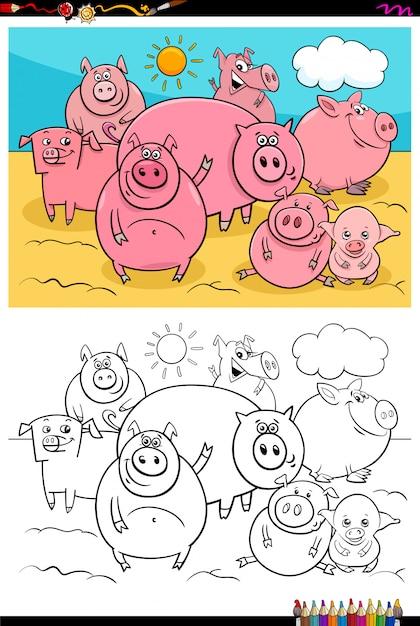 Счастливые свиньи животные персонажи группы цвет книги Premium векторы