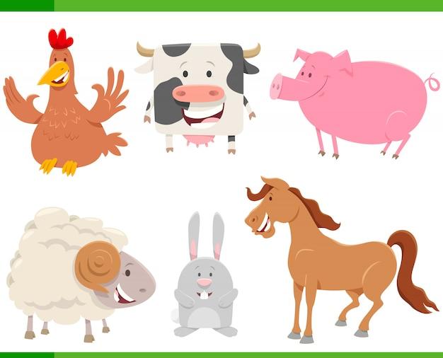 Набор персонажей мультфильма счастливый фермы животных Premium векторы
