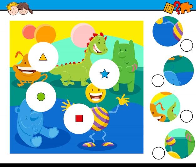 Матч головоломки с фантастическими персонажами Premium векторы