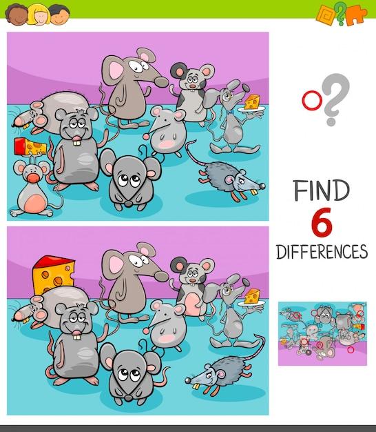マウス動物キャラクターとの違いゲーム Premiumベクター