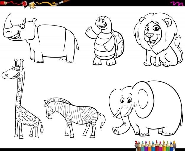 動物キャラクターカラーブックのセット Premiumベクター